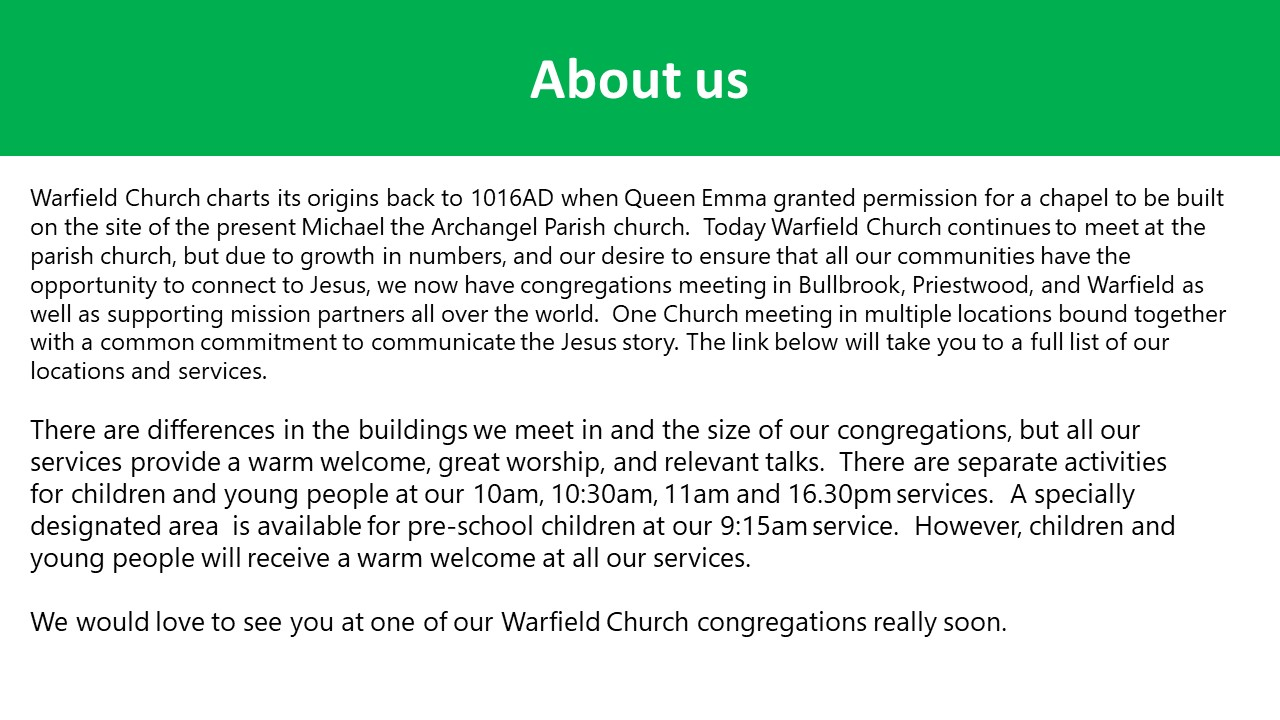 Warfield about us